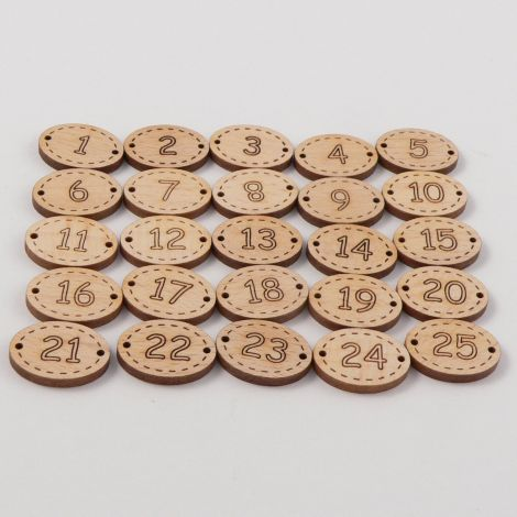 20mm Christmas Advent Wood 2 Hole Set of Buttons.
