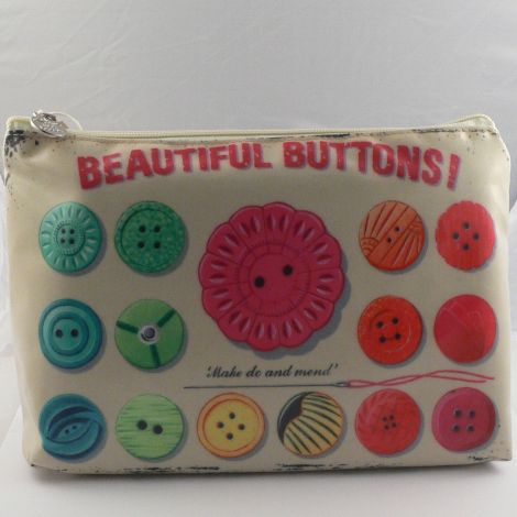 Multicoloured Retro Button Cosmetic Bag