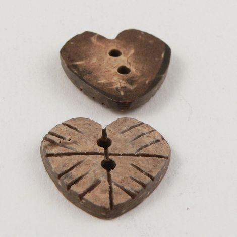 21mm  Heart Coconut 2 Hole Button