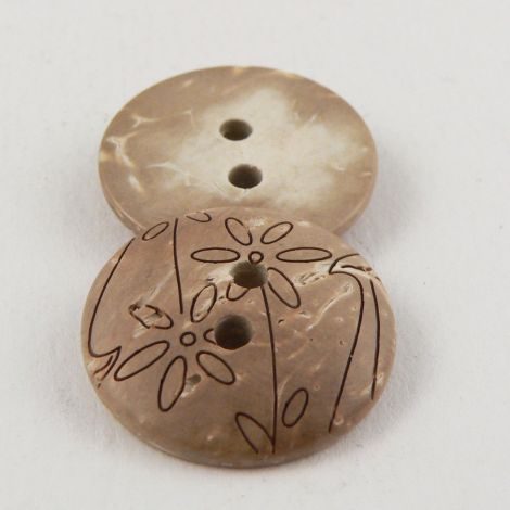 20mm Coconut Round Floral Domed 2 Hole Button