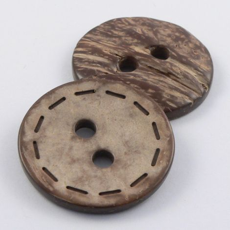 37mm Coconut Round Stitched 2 Hole Button