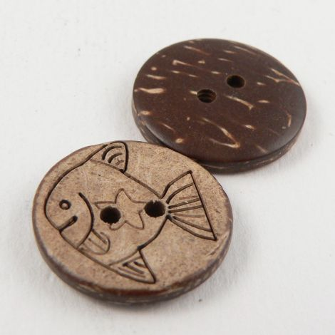 20mm Fish Coconut 2 Hole Button