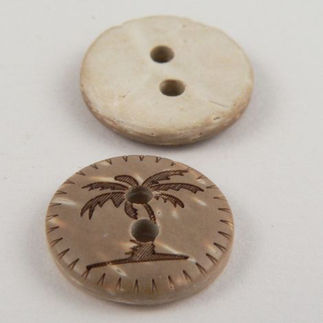 15mm Palm Tree Coconut 2 Hole Button