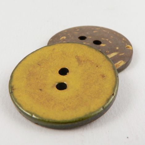 30mm Italian Glazed Yellow Coconut 2 Hole Button