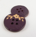 20mm Coconut Mauve Floral 4 Hole Button