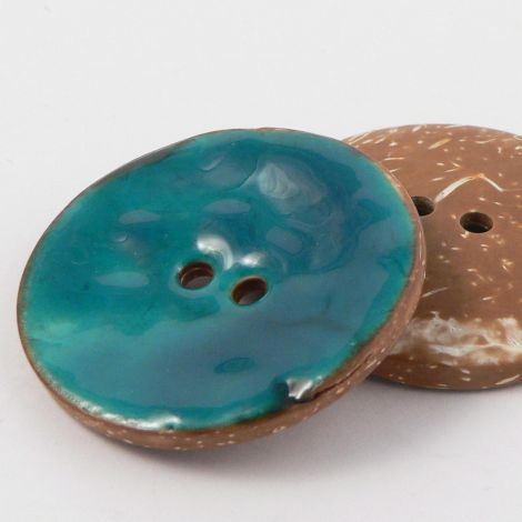 40mm Blue/Green Glazed Coconut 2 Hole Button