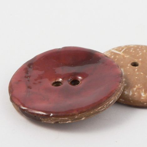 40mm Burgundy Red Glazed Coconut 2 Hole Button