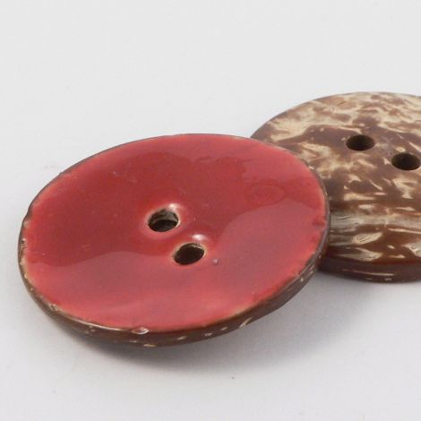 40mm Red Glazed Coconut 2 Hole Button