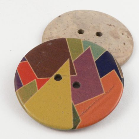 40mm Italian Coconut multicoloured Retro Style 2 Hole Button