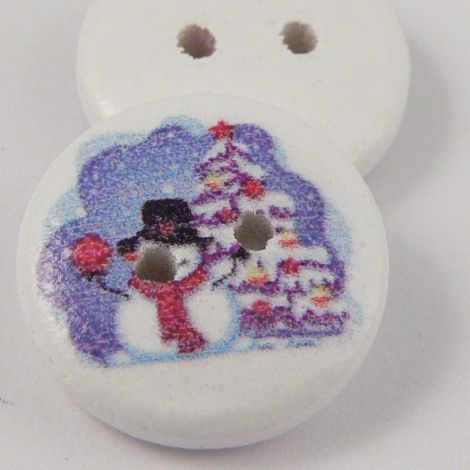 15mm Christmas Snowman 2 Hole Coconut Button
