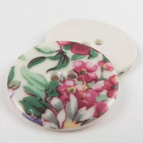29mm Ceramic Multicoloured Floral  2 Hole Button
