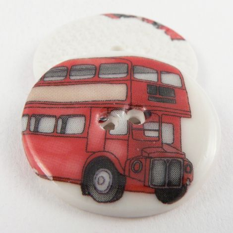 29mm Ceramic Red London Bus 2 Hole Button
