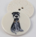29mm Ceramic Black & White Dog 2 Hole Button
