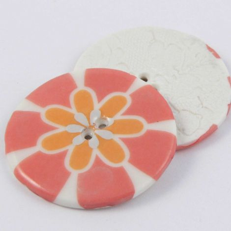 38mm Ceramic Coral Flower Power 2 Hole Button