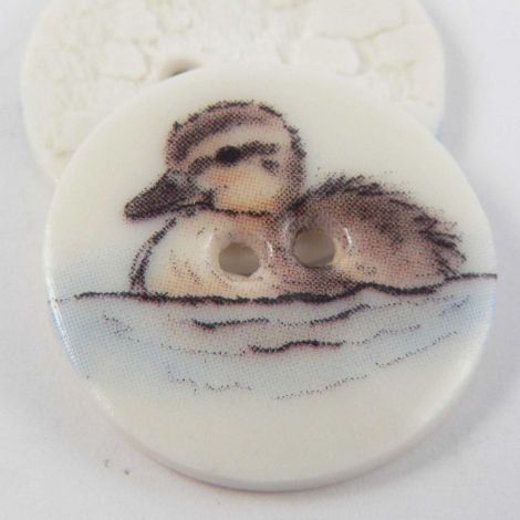 23mm Ceramic Swimming Duckling 2 Hole Button