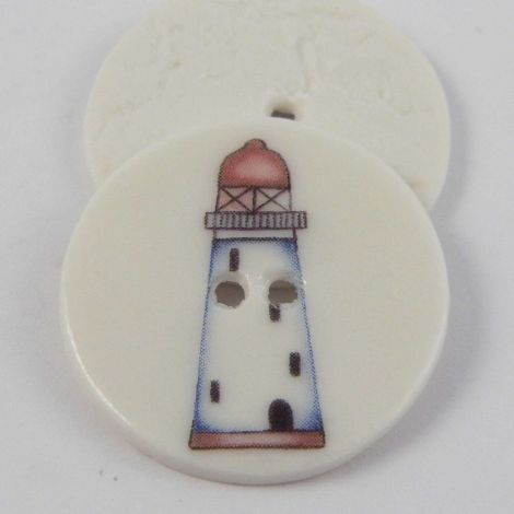 29mm Ceramic Red Lighthouse 2 Hole Button