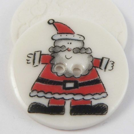29mm Ceramic Father Christmas 2 Hole Button