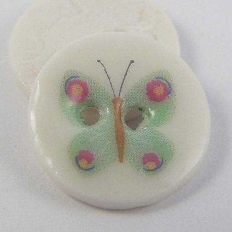 17mm Ceramic Green Butterfly 2 Hole Button