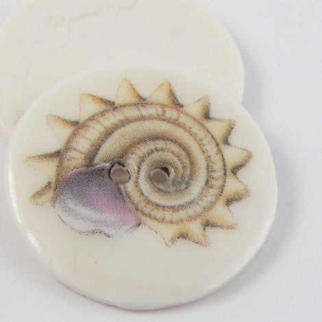 29mm Ceramic Worm Snail Shell 2 Hole Button