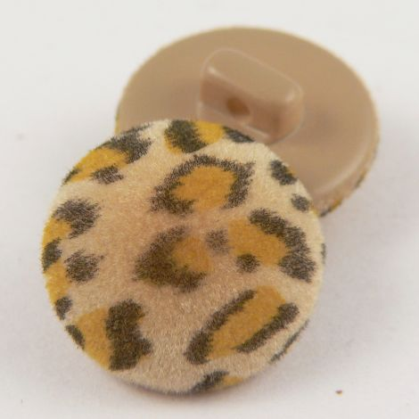 18mm  Leopard Print Fabric Shank Button
