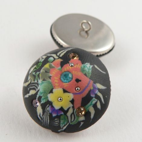 21mm Floral Domed Hand Painted Polymer Clay Shank Button