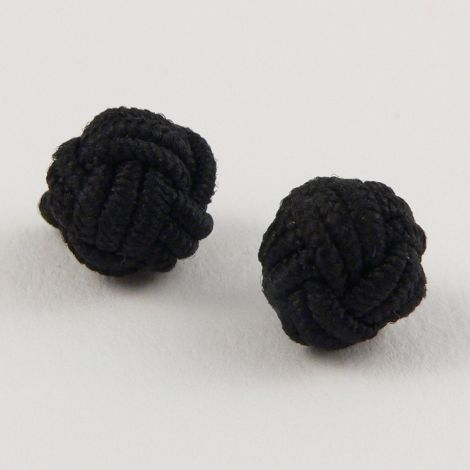 10mm Black Chinese Knot Ribbon Shank Button