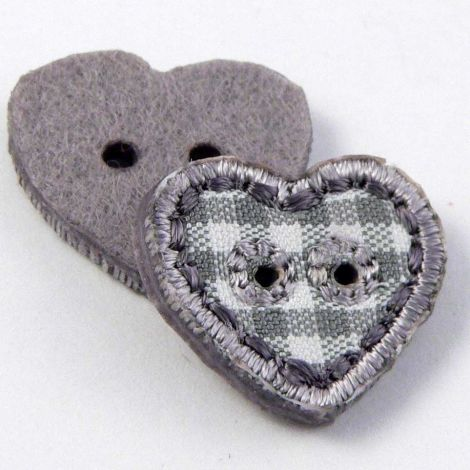 17mm Grey Checked Fabric Heart 2 Hole Button