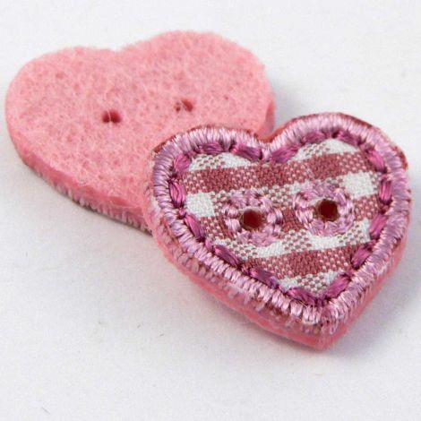 17mm Pink Checked Fabric Heart 2 Hole Button