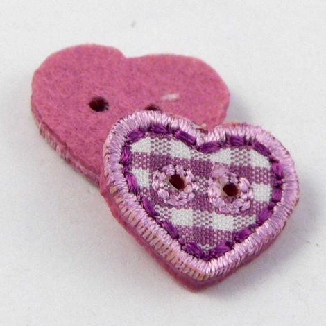 17mm Purple Checked Fabric Heart 2 Hole Button