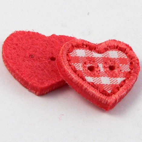 17mm Red Checked Fabric Heart 2 Hole Button
