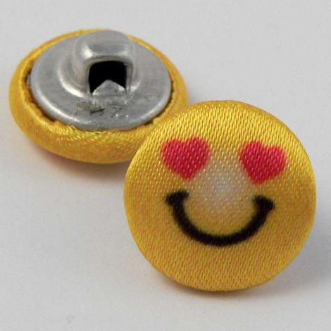 15mm Smiling Face With Love Heart Eyes Fabric Shank Button