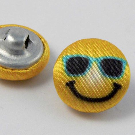 15mm Smiling Face With Sun Glasses Fabric Shank Button