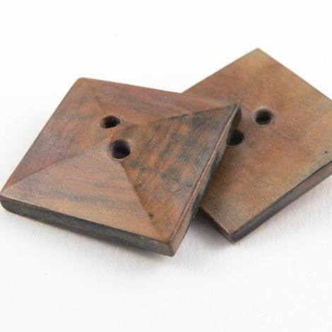27mm Burnt Finish Brown Square Horn 2 Hole Button