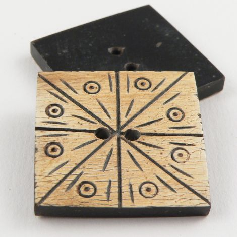 32mm Etched Designed Square Horn 2 Hole Button