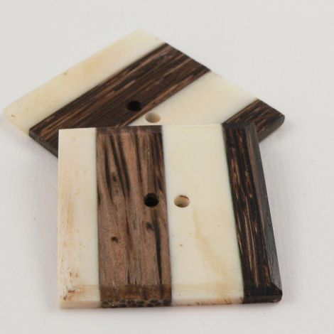 37mm Square Wood & Bone Joint 2 Hole Button