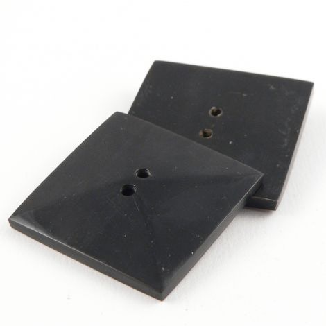 40mm Black Square Horn 2 Hole Button