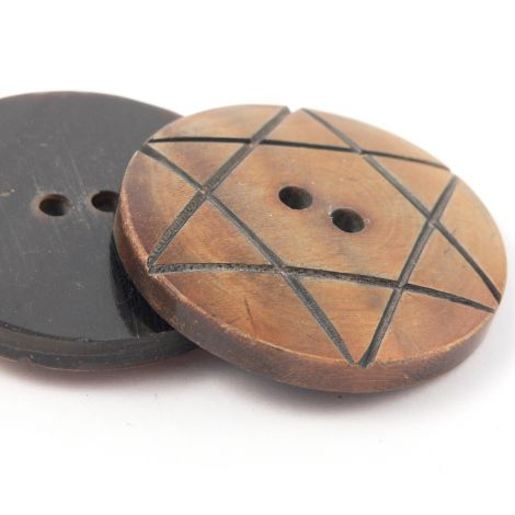 30mm Star of David Brown Round Horn 2 Hole Button