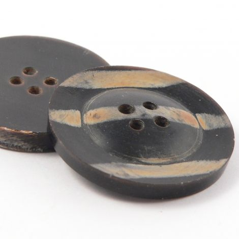 30mm Patterned Brown Round Horn 4 Hole Button