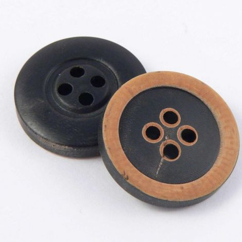 19mm Black Round Horn 4 Hole Button With a Burnt Rim