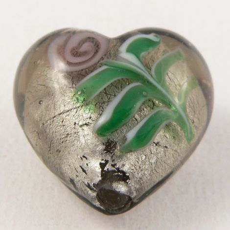 28mm  Heart Pendant Glass 1 Hole Button