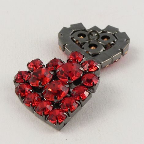 24mm Heart Shaped Red Glass Shank Button