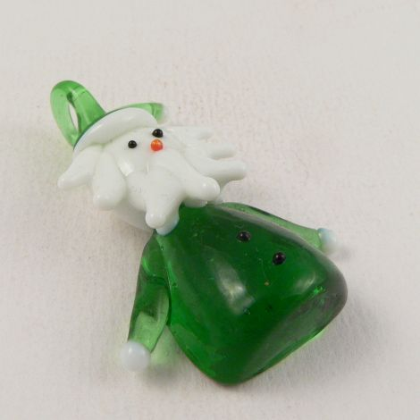 30mm Father Christmas Glass 1 Hole Pendant/Button