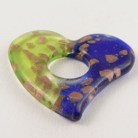 60mm Heart Ring Glass 1 Hole Pendant/Button