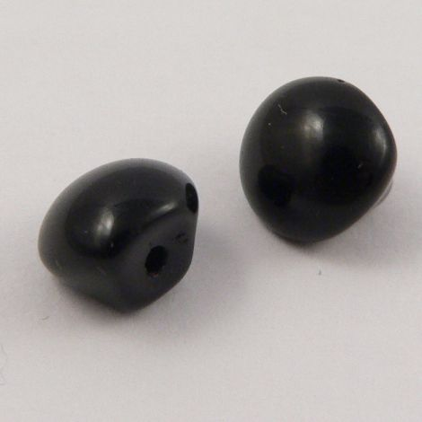 7mm Jet Black Glass Shank Button