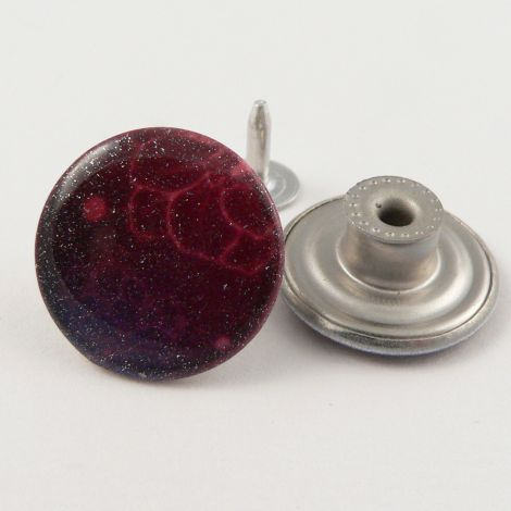 20mm Jeans Pink & Purple Abstract I Hole Button