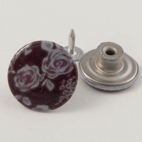 20mm Jeans Maroon & White Floral 1 Hole Button