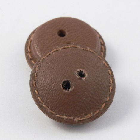 21mm Vintage Brown Leather 2 Hole Button