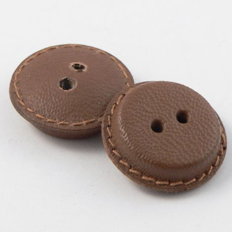 21mm Vintage Dark Tan  Leather 2 Hole Button