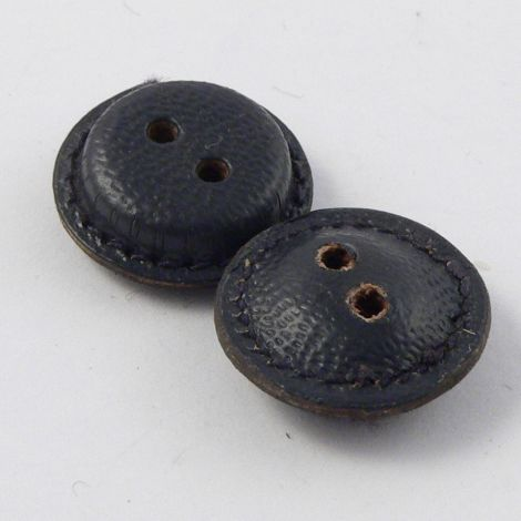 16mm Vintage Navy Blue  Leather 2 Hole Button