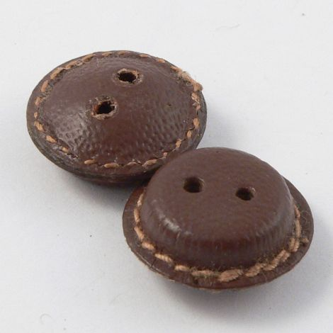 16mm Vintage Brown Leather 2 Hole Button